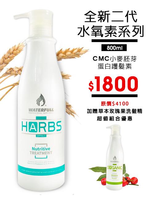 【二代保濕水氧素】CMC小麥胚芽蛋白深層護髮素加贈草本植萃玫瑰果洗髮精800ml